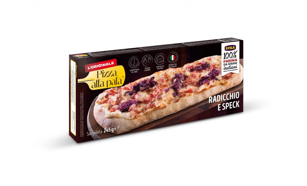 pizza alla pala svila con radicchio e speck